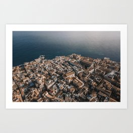 Town or Syracuse, Sicily from above. Art Print