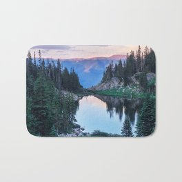 Hikers Bliss Perfect Scenic Nature View \ Mountain Lake Sunset Beautiful Backpacking Landscape Photo Bath Mat