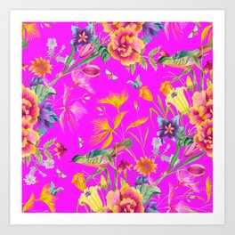 Bold Summer Print on Magenta Pink Art Print