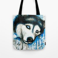 husky Tote Bags featuring Husky by Villarreal