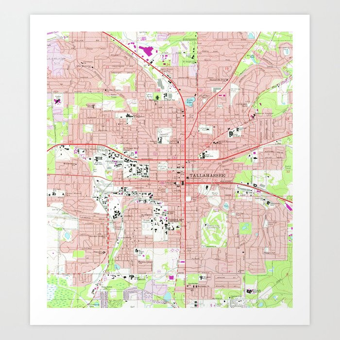 Tallahassee Florida Map (1970) Art Print