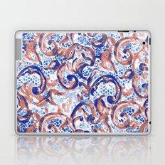 Vintage Lace Watercolor Blue Rust Laptop & iPad Skin
