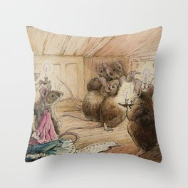 Cute little mice gather around Throw Pillow