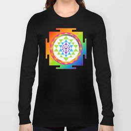 Sri Yantra, Chakra Colors, Faux Gold Accent Long Sleeve T-shirt
