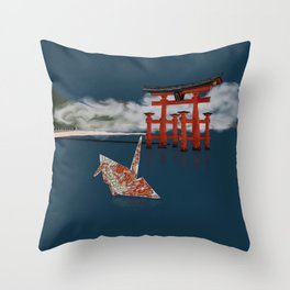 Floating by the Torii Gate Throw Pillow