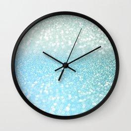 Mermaid Sea Foam Ocean Ombre Glitter Wall Clock