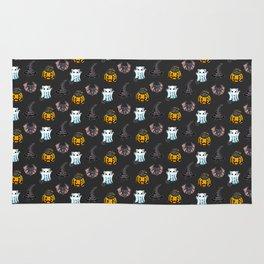 Cute Halloween Cat Kitten Bat Pattern Rug