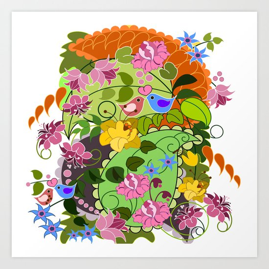 Retro Paisley shapes, damask flowers & Love birds Art Print