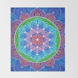 Lotus Flower of Life Throw Blanket