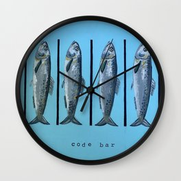 Code bar bleu Wall Clock