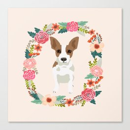rat terrier floral wreath dog breed pet portrait pure breed dog lovers Canvas Print
