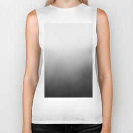 trees in fog - forest landscape - black and white Biker Tank