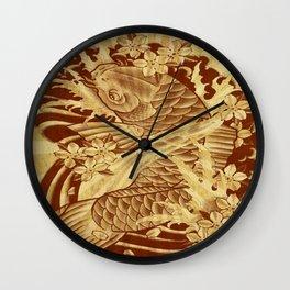 reto sun rays vintage japanese tattoo koi Wall Clock
