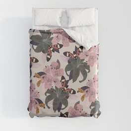 Lilies and butterflies insects Duvet Cover