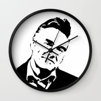 smiths Wall Clocks featuring Painting of singer and lyricist from The Smiths, acrylic on canvas, monochrome pop stencil art. by MONOFACES