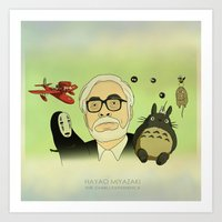 hayao miyazaki Art Prints featuring Hayao Miyazaki by Borja Espasa