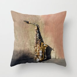 New Orleans French Quarter Saxophone Throw Pillow