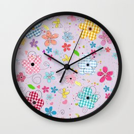 Colorful Cute Doodle Flowers Spring Time Flowers With Lilac Background Pattern Wall Clock