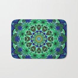 Malachite and Azurite with a geometric kaleidoscopic design Bath Mat