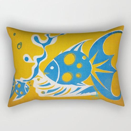 Screenprint Gold and Fish Rectangular Pillow