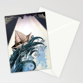 Origami Boat on a Wave Stationery Cards