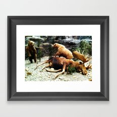 Grizzly Fight Framed Art Print
