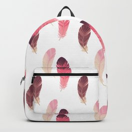 Pastel pink brown burgundy watercolor hand painted feathers Backpack