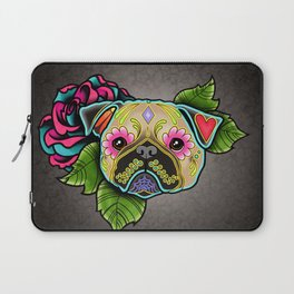 Pug in Fawn - Day of the Dead Sugar Skull Dog Laptop Sleeve
