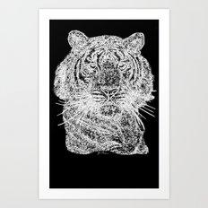 Tiger line drawing w Art Print