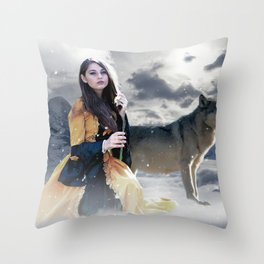Gothic Princess & Wolf Throw Pillow
