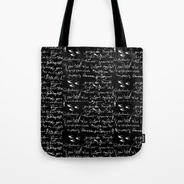 White French Script on Black background with White birds Tote Bag
