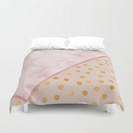 Sivec Rosa marble - golden polka dots Duvet Cover