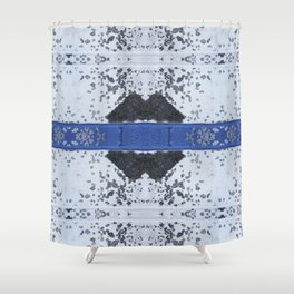 Blue and White Crumbling Shower Curtain