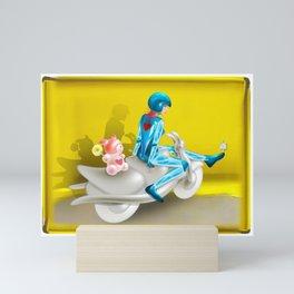 Time Bunny Girl and Love Robo Mini Art Print