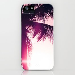 pink palm tree silhouettes kihei tropical nights iPhone Case