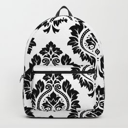 Decorative Damask Art I Black on White Backpack