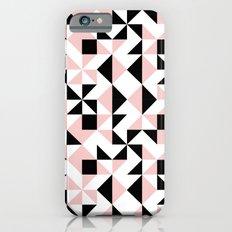 Eva - rose quartz quilt squares hipster retro geometric minimal abstract pattern print black pink iPhone 6s Slim Case