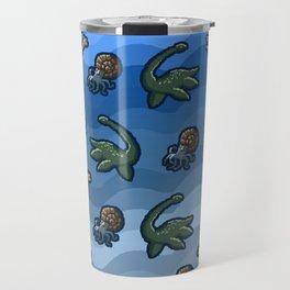 Pixel Sea Dinosaurs Pattern Travel Mug