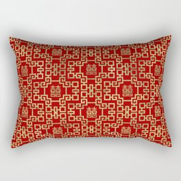 Chinese Pattern Double Happiness Symbol Gold on Red Rectangular Pillow
