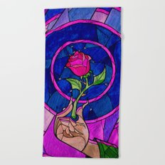 beauty and the beast rose flower Beach Towel