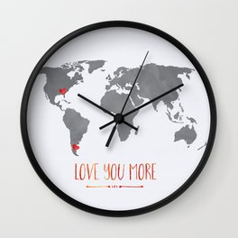 World Map with hearts Wall Clock