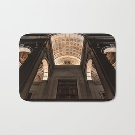 View from below of the main entrance of the Cathedral of Sant'Alessandro, the Cathedral of Bergamo A Bath Mat