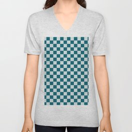 Pale Blue and Tropical Dark Teal Small Checker Board Pattern Inspired by Sherwin Williams 2020 Trending Color Oceanside SW6496 Unisex V-Neck