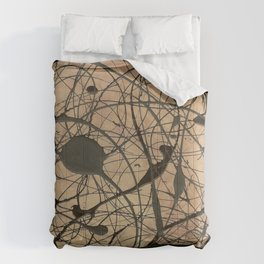 Pollock Inspired Abstract Black On Beige Corbin Art Contemporary Neutral Colors Comforters