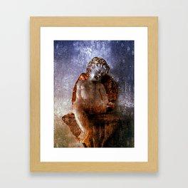 Sleeping angel faux oil painting Framed Art Print