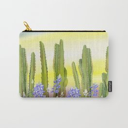 Tall Cactus and Bluebonnet Carry-All Pouch