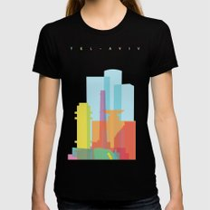 Shapes of Tel Aviv MEDIUM Womens Fitted Tee Black