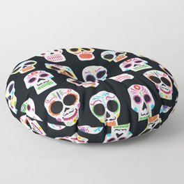 Day of the Dead Skulls Pattern on Black Floor Pillow