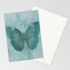 Teal Watercolor Butterfly Stationery Cards