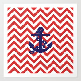 Blue Anchor on Red and White Chevron Pattern Art Print